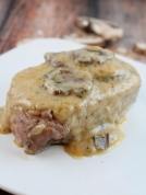 Garlic butter and mushroom pork chops
