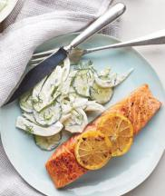 Salmon cucumber and fennel salad