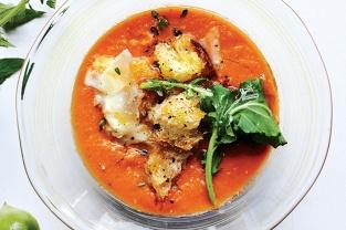 TOMATO SOUP WITH ARUGULA, CROUTONS, AND PECORINO