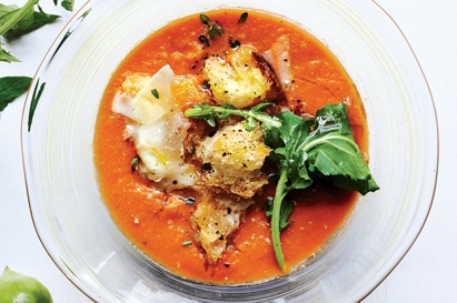TOMATO SOUP WITH ARUGULA, CROUTONS, AND PECORINO
